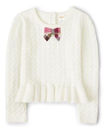 Girls Cable Knit Peplum Sweater - Pony Club