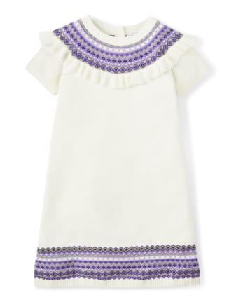 Girls Fairisle Sweater Dress - Whooo's Cute
