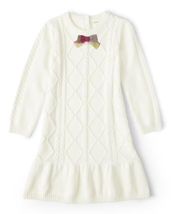 Girls Cable Knit Sweater Dress - Pony Club
