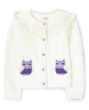 Girls Applique Owl Cardigan - Whooo's Cute