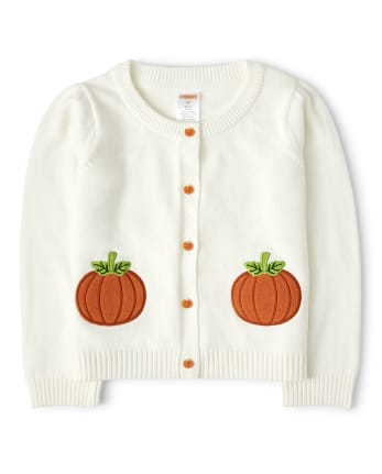 Girls Embroidered Cardigan - Lil' Pumpkin