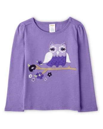 Girls Applique Owl Top - Whooo's Cute