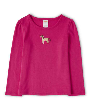 Girls Embroidered Horse Top - Pony Club