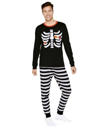 Mens Matching Family Skeleton Cotton 2-Piece Pajamas - Gymmies
