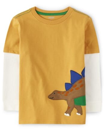 Boys Embroidered Stegosaurus 2 In 1 Top - Dino Roar