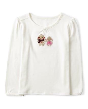 Girls Embroidered Gingerbread Top - Winter Wonderland