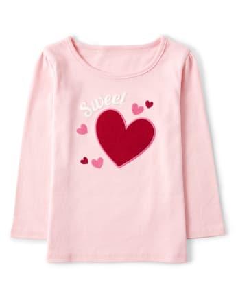 Girls Embroidered Sweet Top - Valentine Cutie