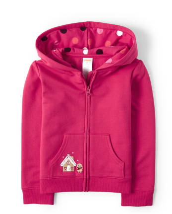 Girls Embroidered Gingerbread Zip Up Hoodie - Winter Wonderland