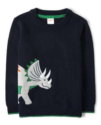 Boys Triceratops Sweater - Dino Roar