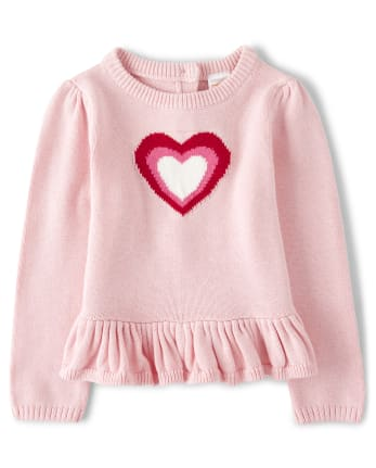 Girls Heart Peplum Sweater - Valentine Cutie