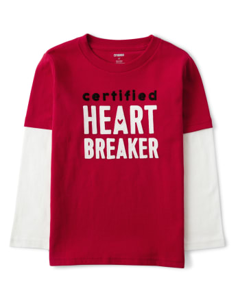 Boys Embroidered Heart Breaker 2 In 1 Top - Valentine Cutie