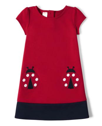 Girls Ponte Shift Dress - Little Ladybug