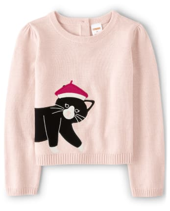 Girls Embroidered Cat Sweater - Puuurfect In Paris