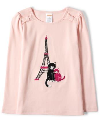 Girls Embroidered Eiffel Tower Top - Puuurfect In Paris