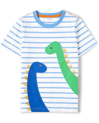 Boys Embroidered Striped Top - Hello Dino