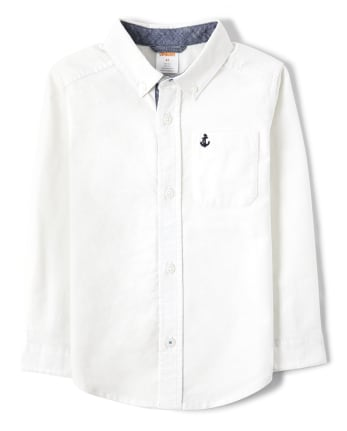 Boys Embroidered Button Up Shirt - Country Club