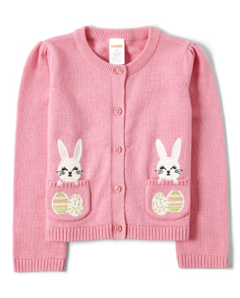Girls Embroidered Bunny Cardigan - Garden Party
