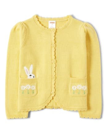 Girls Embroidered Easter Scalloped Cardigan - Garden Party