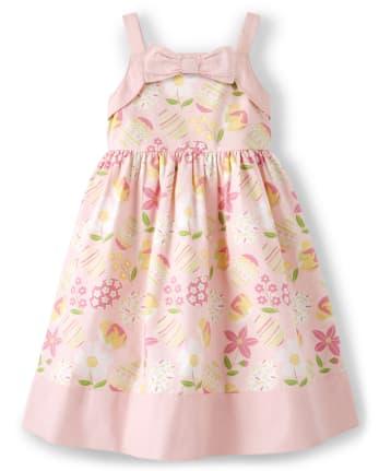 Girls Easter Bow Dress - Garden Party