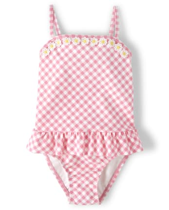 Girls Daisy Gingham One Piece Swimsuit - Garden Party