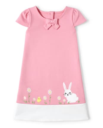 Girls Embroidered Bunny Ponte Shift Dress - Garden Party