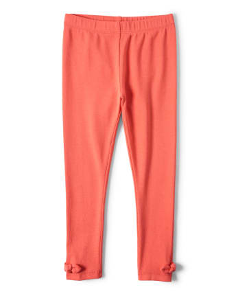 Girls Bow Leggings - Pretty Peach