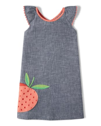 Girls Embroidered Chambray Shift Dress - Pretty Peach