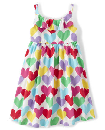 Girls Heart Ruffle Dress - Sunshine Time