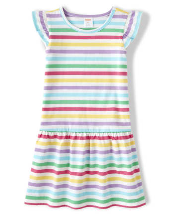 Girls Rainbow Striped Dress - Sunshine Time