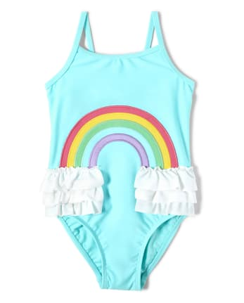 Girls Rainbow One Piece Swimsuit - Sunshine Time