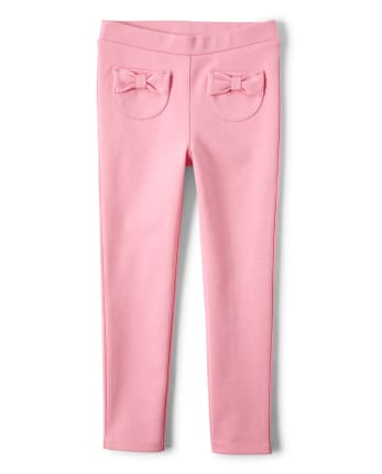 Girls Bow Ponte Jeggings - Garden Party