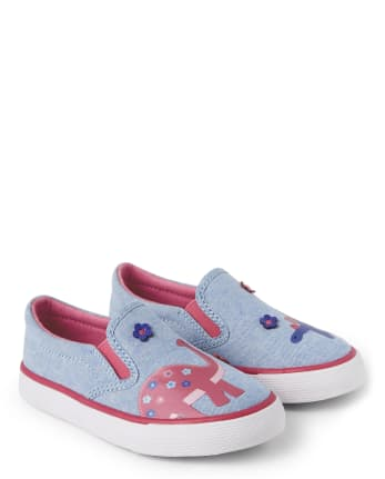 Girls Chambray Slip On Sneakers - Hello Dino