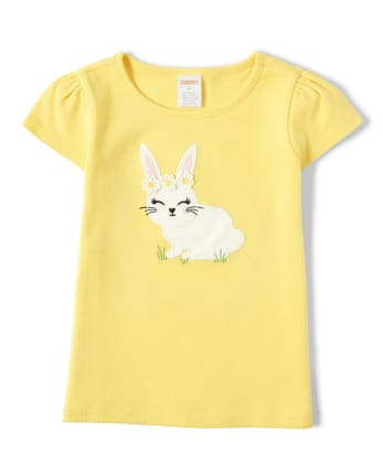 Girls Embroidered Bunny Top - Garden Party