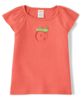 Girls Embroidered Top - Pretty Peach