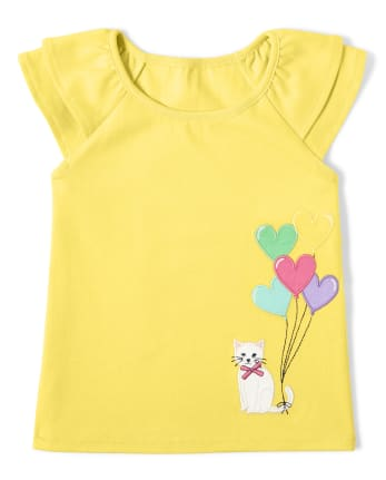 Girls Embroidered Heart Balloons Ruffle Top - Sunshine Time