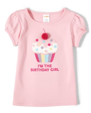 Girls Embroidered Pom Pom Cupcake Top - Birthday Boutique