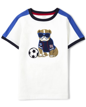 Boys Embroidered Dog Top - Ready, Set, Goal