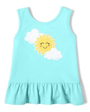 Girls Embroidered Sun Peplum Top - Sunshine Time