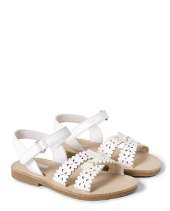Girls Laser Cut Flower Sandals