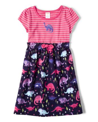 Girls Striped Dino Dress - Hello Dino