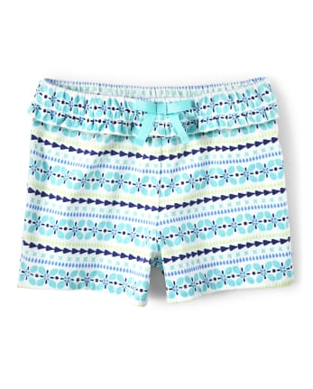 Girls Striped Ruffle Bow Shorts - Island Getaway