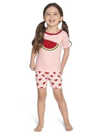 Girls Watermelon Cotton 2-Piece Pajamas - Gymmies