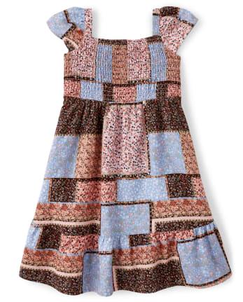 Girls Patchwork Ruffle Dress - Western Skies