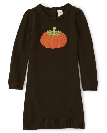 Girls Embroidered Sweater Dress - Lil Pumpkin