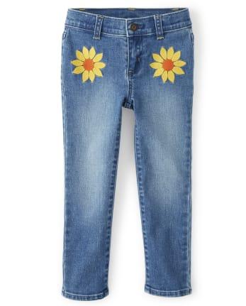 Girls Embroidered Sunflower Jeans - Harvest