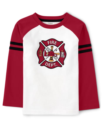 Boys Embroidered Raglan Top - Fire Chief