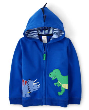 Boys Embroidered Zip Up Hoodie - Dino Dude