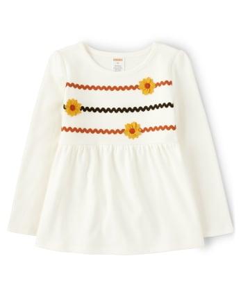 Girls Embroidered Sunflower Babydoll Top - Harvest