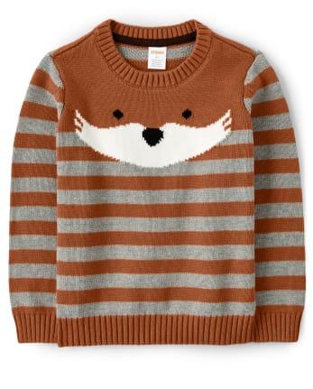 Boys Intarsia Fox Sweater - Harvest