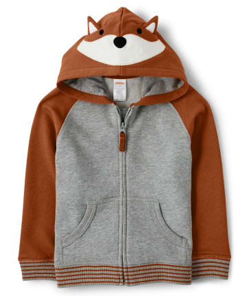 Boys Fox Zip Up Hoodie - Harvest
